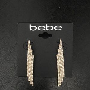 bebe Elegant 4 row pave crystal earrings on Gold